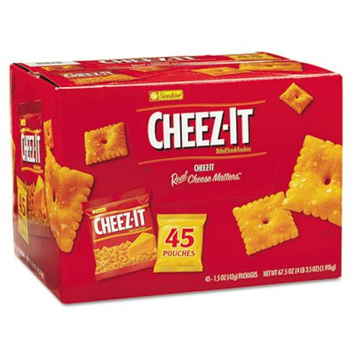 Cheez-it Crackers, 1.5 oz Pack, 45 Packs/Box, Sold as 1 Carton