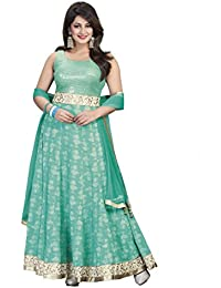 Oomph! Georgette Anakali Salwar Suit For Women Party Wear Stitched - Aqua Blue