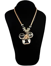 STRIPES Presents A Combo Of Long Pendant Necklace With Ring For Women / Girl / Black Colour Metal Coil Design...