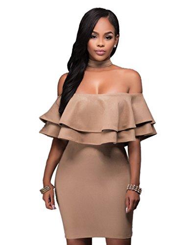 Womens Sexy Off Shoulder Ruffle Backless Chocker Strapless Clubwear Mini Dress M