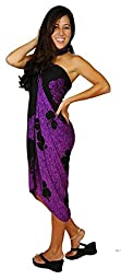 1 World Sarongs Womens Hibiscus Flower Swimsuit Cover-Up Sarong in Purple/Black