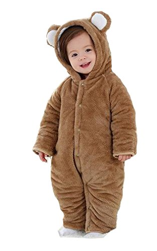 Mikistory Newborn Unisex Baby Animal Romper Jumpsuit One Piece Outfit Snowsuit for 0-24 Months (18-24 Month without footies, Brown Bear)