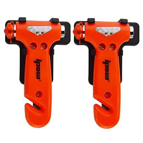 41Ac%2BojaqkL - BEST BUY #1 [2 Pack] Ipow Car safety Antiskid Hammer Seatbelt Cutter Emergency Class/Window Punch Breaker Auto Rescue Disaster Escape Life-Saving Hammer Tool (Small)