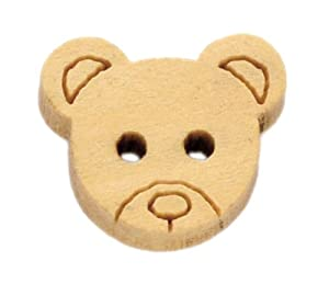 Pack of 20 cute Teddy Bear Face Buttons, Wooden, for Sewing, Scrapbooking, Embelishments, Crafts, Jewellery making, Knitting,