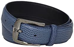 Stacy Adams Men's 32mm Genuine Leather Lizard Skin Print Belt With Brushed Nickle Buckle, Blue, 38