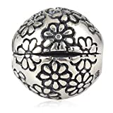 Flowers Clip/Lock Stopper Charm 925 Sterling Silver Clips Beads Charm fit for diy Charms Bracelets (Flower B) (Color: Flower 2)