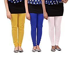 Carrol Women Leggings(Combo of 3 Blue, Yellow and White)