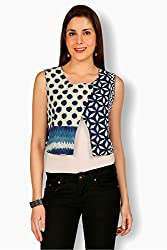 Free Spirited Blue Cotton Fitted Top For Women