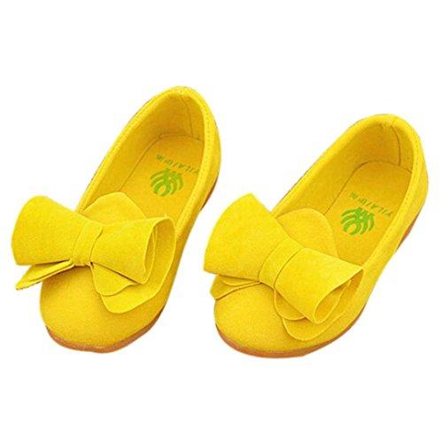 Binmer(TM) Toddler Baby Girls Soft Kids Bow Flats Walking Princess Shoes (24:US:7, Yellow) (Princess Shoes For Toddlers)