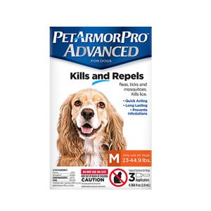 Pet Armor Pro Advanced Flea, Tick, Lice & Mite Treatment Drops for Medium Sized Dogs (23 - 44.9 Lbs), 3 Pack