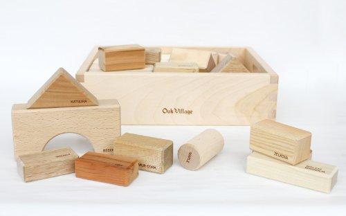 寄木の積木 英語入り(木箱) 【知育玩具としてお薦め、出産御祝にも喜ばれる木のおもちゃ】