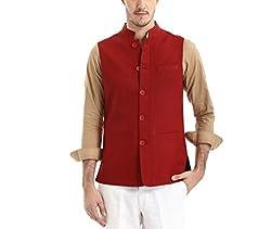 Yell Men's Regular Fit Nehru Jacket (YLWC/904-MAROON-S_Maroon_S)
