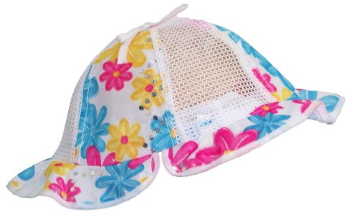 Baby/Infant Summer Sun Hat Mesh W/Multi-Colored Flower Sparkly (One Size) - Pink/Blue/Yellow