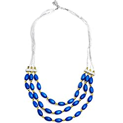 Brilliant Blue Fashion Multi-Strand Necklace