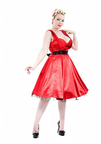 H & R London Satin 1950's Retro Cocktail Dress Red