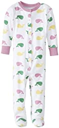 New Jammies Baby Girls\' Whale Organic Baby Footie, Pink, 18 Months