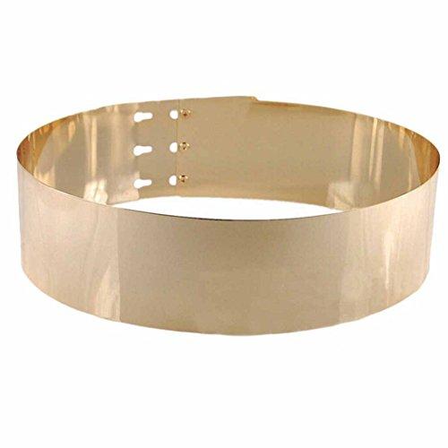 Sunward Women Punk Full Metal Mirror Belt Metallic Buckle Adjustable Belt (Gold)