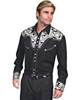 Scully Men's Floral Embroidered Navy Retro Western Shirt