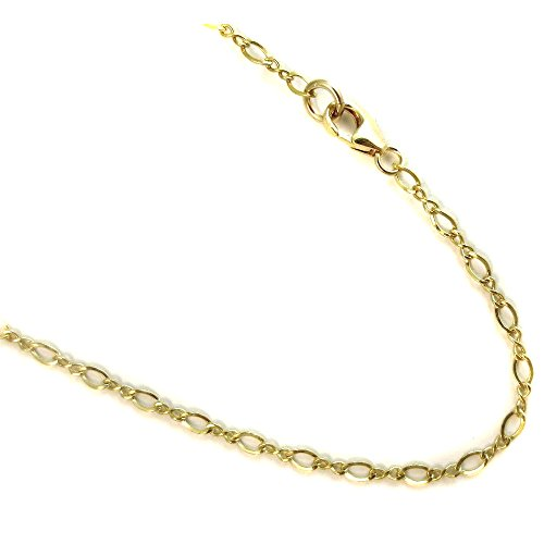 14k Gold Filled(1/20 of 14k) Anklet. 2.3mm Flat Link Chain. 9,10,11,12 Inches