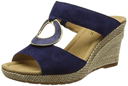GaborSizzle - Sandali con Zeppa donna, colore Blu (Blue (Blue Suede/Perlato/Jute)), taglia 8 UK (42 EU)