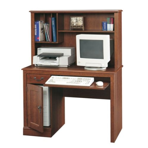 Camden County Computer Desk With Hutch in Planked Cherry by Sauder