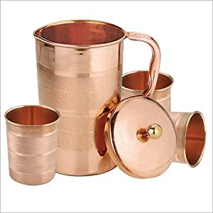 Buy asiacraft pure copper lemon set jug with 3 glasses for Kitchen set bartan
