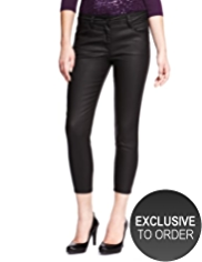 Petite Leather Look Ankle Grazer Denim Jeggings