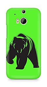 Amez designer printed 3d premium high quality back case cover for HTC One M8 (Bear in Green)
