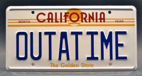 Back to the Future / Delorean / OUTATIME *Metal Stamped* Vanity Prop License Plate