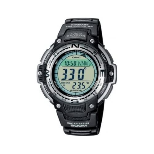 Casio SGW-100-1VEF Men's Quartz Watch with Grey Dial - Digital Display and Black Resin Strap