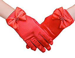 H.X Girls Wrist Length Satin Formal Pageant Party Gloves (L / Fit 8-14years, Red)