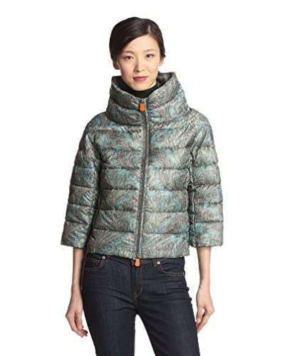 Save the Duck Women's Cropped Printed Puffer Jacket  [Multi]