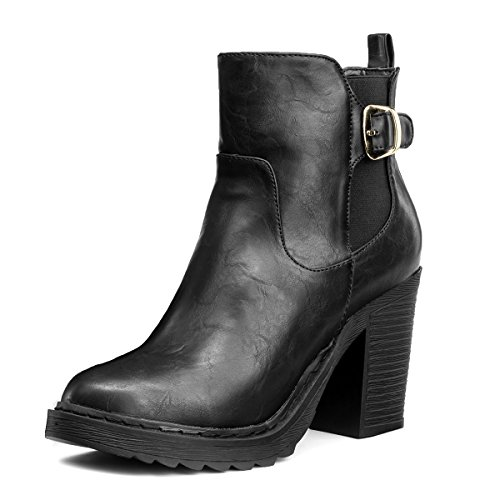 SHOEZY Women's Pu Leather Chelsea Chunky Heel Ankle Boot Elastic Zipper Black US 10
