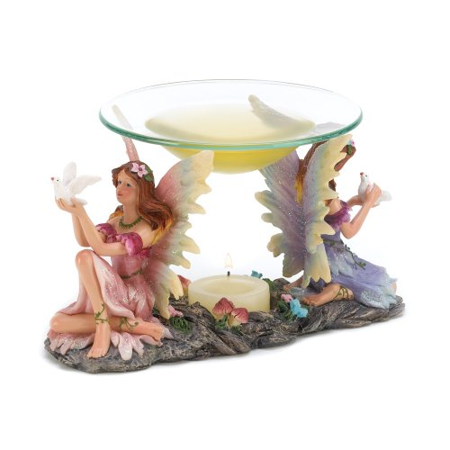 Gifts & Decor Mythical Twin Fairies Oil Warmer Tealight Candle Holder