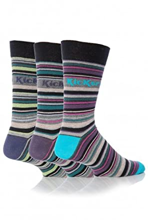 Mens 3 Pair Kickers Belleville Multi Stripe Socks - 6-11 Mens - Multi Coloured