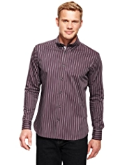 Blue Harbour Luxury Cotton Rich Striped Shirt with Cashmere