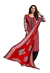 Desifab Women's Cotton Red & Black Unstiched Dress Material