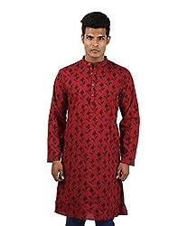 Royal Cotton Men's kurta Maroon New Kurta Hand Block Printed Medium Long shirt Ikat Shirt By Rajrang