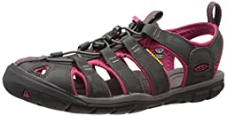 KEEN Women\'s Clearwater CNX Leather Sandal, Magnet/Sangria, 7.5 M US