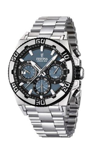 Festina F16658/3 - Reloj cronógrafo de cuarzo para hombre con correa de acero inoxidable, color plateado