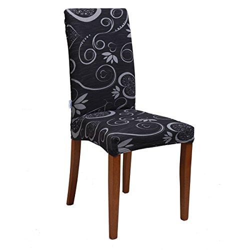 Bed Store - Joker Coprisedia vesti sedia millerighe elasticizzato 2 pezzi linea Cuori (NERO / DARK)