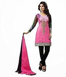 Pink Color Cotton Unstitched Salwar Kameez Embroidered Dress Material