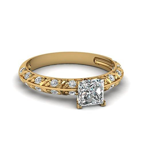 Fascinating Diamonds Crusted Knife Edge Engagement Ring Pave Set 1.50 Ct Princess Cut Vs1 Diamond Gia