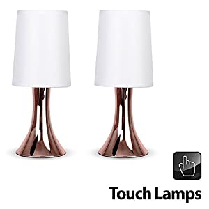 Pair Of - Modern Copper Effect Trumpet Touch Table Lamps With Fabric Shades by MiniSun