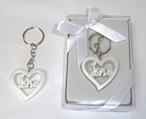 "Baby Keepsake: Set of 48 ""Boy or Girl"" White Heart Shaped Love Key Chains Gift Boxed KG004-W"