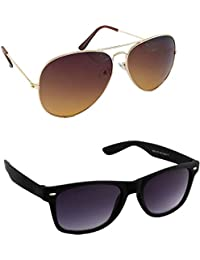 I DID Combo Of Gold BrownAviator And Black Wayfarer Sunglasses For Men And Women With UV Protection(Avt_Gold_Br_Bk_Way)