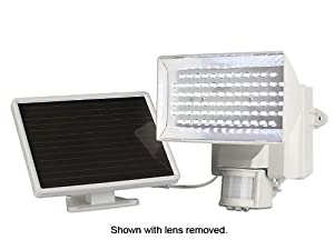 MAXSA Innovations 40225 Solar-Powered Motion-Activated 80 LED Security Floodlight, Off-White