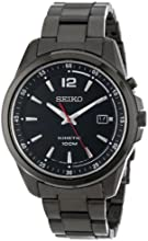 """Seiko Men's SKA605 KINETIC """"Amazon Exclusive"""" Black Ion-Plated Stainless Steel Watch"""