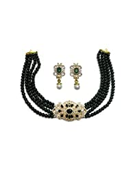 Sempre Of London Green Bead Designer Necklace With Designer Earrings With Gold Two Tone Plated In Austrian Crystal...