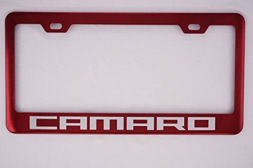 Chevy Camaro Red Stainless Steel License Plate Frame (Candy License Plate Frame compare prices)